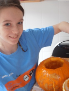 Girl1 & pumpkin