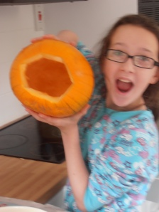 Girl 2 & pumpkin