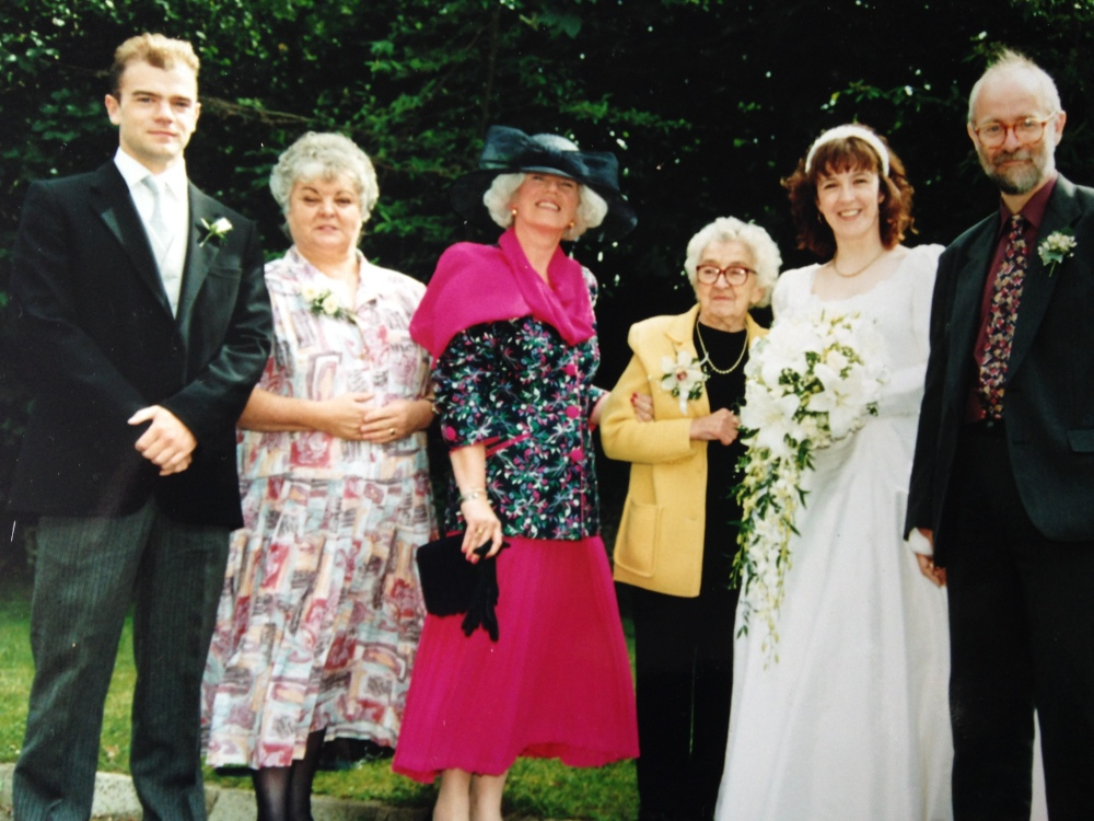 wedding, 1994, big hat, uncle, aunt, granny, mother, brother, bride