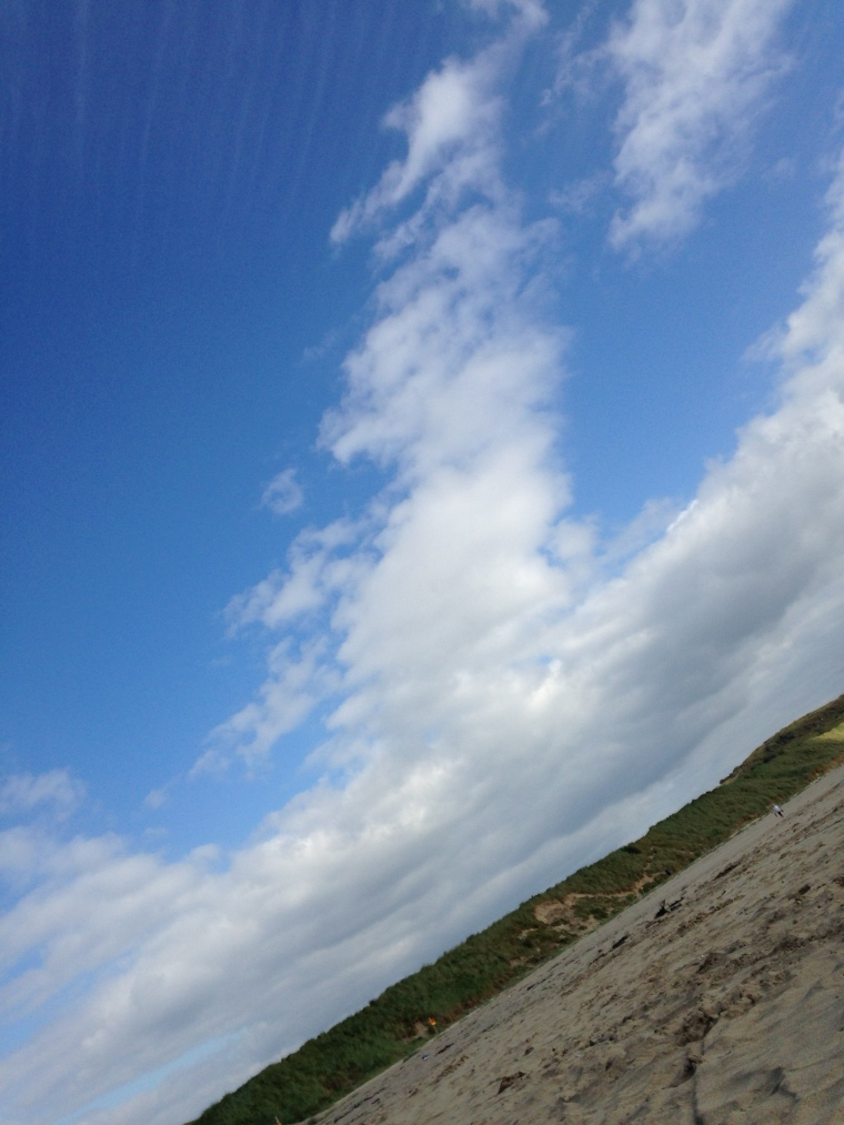 looking left, blue sky and beach