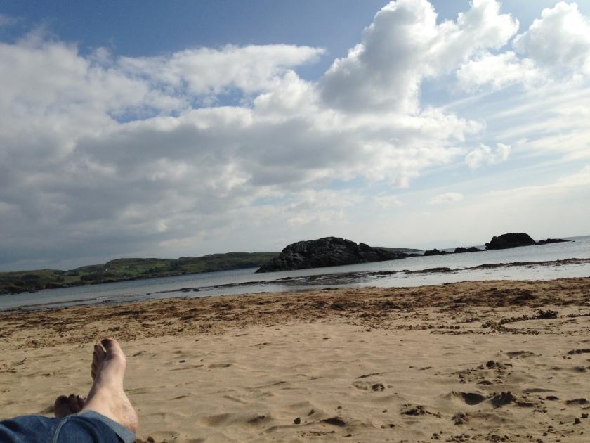 beach, feet, bright day