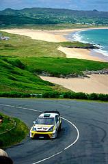 rally car, hill, beach