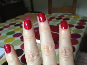 red sparkly nail varnish